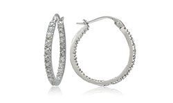 Sterling Silver CZ Inside Out Round Hoop Earrings - Silver - Size: 20mm
