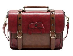 Ecosusi Vintage Messenger Bags Briefcase Girls Purses School Satchel - Red