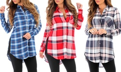 Womens Plaid Long Button Down Tunic: Dark Blue/small
