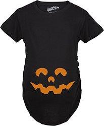 Halloween Maternity T-shirt: Cartoon Eyes Pumpkin Face/small