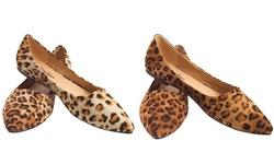 Tory Klein Women's Animal Print Flats - Light Brown - Size: 9.5