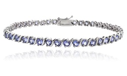 5.00ct Tanzanite S Design Sterling Silver Tennis Bracelet