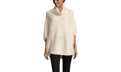 Cliche Basket Weave Cowl Neck Sweater - Beige - Size: Medium
