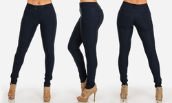 Juniors High Waist Tummy Control Stretchy Skinny Pants - Navy - Size: Med
