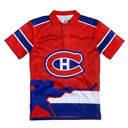 KLEW NHL Montreal Canadiens Polyester Short Sleeve Thematic Polo Shirt, Blue, X-Large