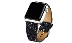 Leather Bling Apple Watch Band: 42mm - Black