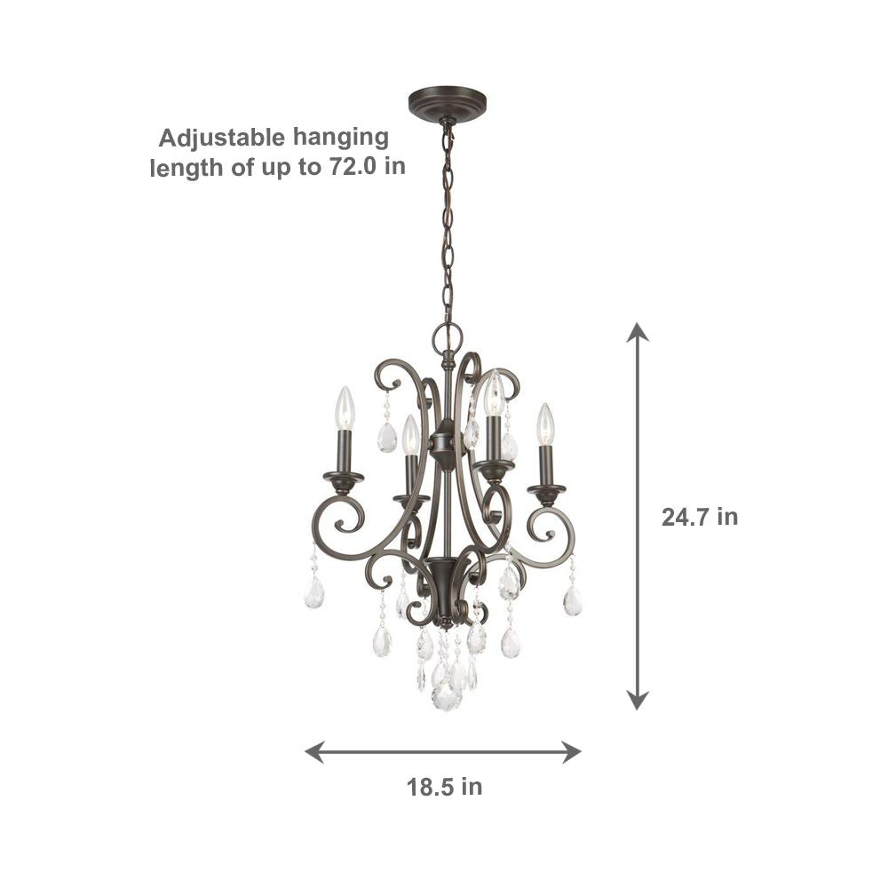 Hampton Bay 4 Light Oil Rubbed Bronze Crystal Small Chandelier Ihn9114a Check Back Soon Blinq