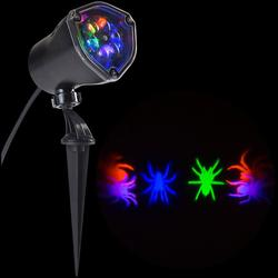 "LightShow 11.81"" Halloween Whirl-a-Motion Spider Projection Stake Light"