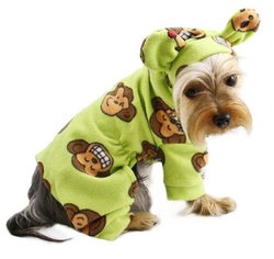 Adorable Silly Monkey Fleece Dog Pajamas / Bodysuit With Hood Size: Lage, Color: Lime