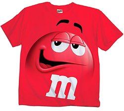 M&M Jumbo Fade Adult T-shirt: Red/XS