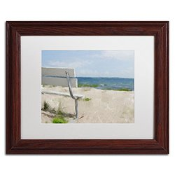 Trademark Fine Art Beach on Long Island Sound Artwork by Lois Bryan, 11 by 14-Inch, White Matte with Wood Frame