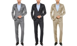 Verno Men's Slim Fit Sharkskin Suits (2-piece): Black/36rx30w