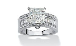 Women's 3.43 TCW CZ Platinum over Silver Engagement Ring