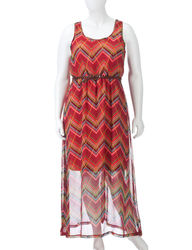 Extra Touch Chevron Belted Dress - Juniors Plus - Coral - Size: 1X