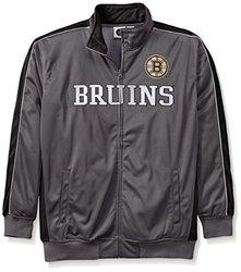 NHL Boston Bruins Men's Reflective Track Jacket, 2X, Charcoal/Black