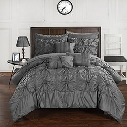 Chic Home CS3573-AN 10 Piece Springfield Floral Pinch Pleat Ruffled Designer Embellished Bed In A Bag Comforter Set With Sheet Set, King, Charcoal