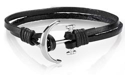 Men's Genuine Leather Anchor Charm Bracelets
