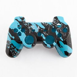 Light Blue Marble Hydro-Dipped Custom Controller Shell for PS3
