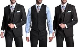 Verno Men's 3-piece Pinstripe Suit: Slim-charcoal/42rx36w