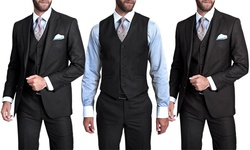 Verno Men's 3-piece Pinstripe Suit: Slim-black/40sx34w