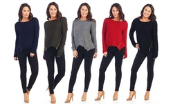 Women's Knit Zipper Sweater: Olive/medium