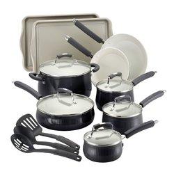 Savannah Collection Aluminum Cookware Set w/ Bakeware (17-Piece): Black