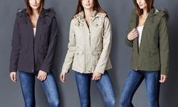 Lady Cotton Parka Jacket W/ Fur Lined Hood: Black/small