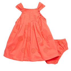 Agabang Little Girl's Eyelet Embroidered Dress - Yellow - Size: 3-6M