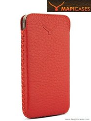 MAPi Cases Simena For  iPhone 4/4S - Luxurious Premium Leather Soft Pouch Style Case, Red