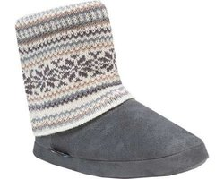 Women's Legwarmer Scrunch Bootie: Brown-Grey/Medium