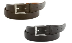 Royal Boudoir Men's Leather Dress Belts 2PK - Brown/Black - Size: 38-40