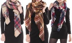 Peach Couture Women's Plaid Blanket Scarves - Cream/Orange - Size: One