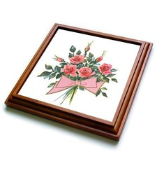"3dRose Pink Rose Bouquet Trivet with Ceramic Tile - Brown - Size: 8"" x 8"""