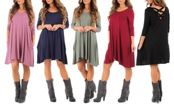 Ca Trading Group Women's Long Sleeve Cross Back Dress - Navy - Size: Small