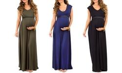 Women's Maternity Maxi Dress: Rose/xl