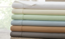 1000tc Egyptian Cotton Rich Sheets: Dobby Stripe-ivory/queen