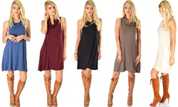 Lyss Loo Groove Thing Ribbed Cowl Neck Shift Dress: Brown/Small