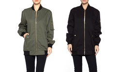 Apparel Brands Women's Oversized Bomber - Olive - Size: Large