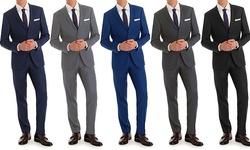 Vincent Moretti Men's Slim Fit 2-piece Suits: Navy/38rx32w