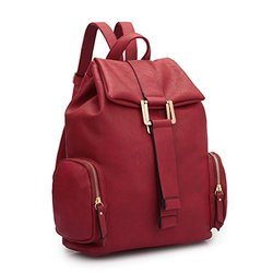 Jansen Drawstring Backpack With Side Pockets: Red