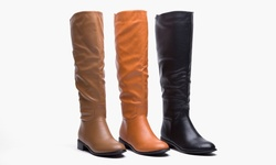 Pu Wide Calf Flat Riding Boot Maze - Black/8.5