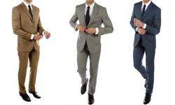 Alberto Cardinali Men's Slim Fit Sharkskin Spring Suit: Taupe/38r-32w