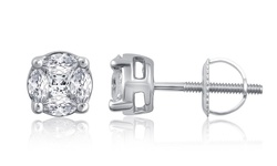0.35 CTTW 14K White Gold Princess/Marquise Cut Diamond Stud Earrings