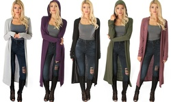 Lyss Loo Women's Long Line Hooded Cardigan - Olive - Size: Large