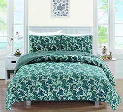 Cameryn Collection 3-piece Printed Quilt Set (twin,  Blue)