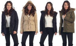 Women's Faux Fur Hooded Winter Jacket - Khaki - Size: Large