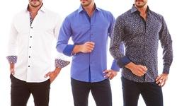 Azaro Uomo Men_s Contrast Trim Button-Down Shirt - Blue - Large