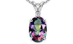 2.5 CTW Genuine Diamond Mystic Topaz Pendant