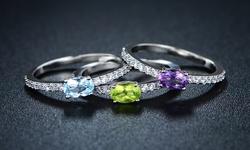Sevil Women's 18K White Gold Gemstone Stackable Ring Pack of 3 - Size: 6