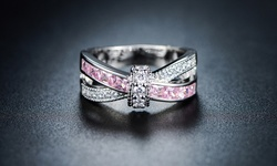 18K White Gold 3CTTW Plated Pink White CZ Crisscross Ring - Size: 8